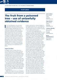 The fruit from a poisoned tree – use of unlawfully obtained evidence